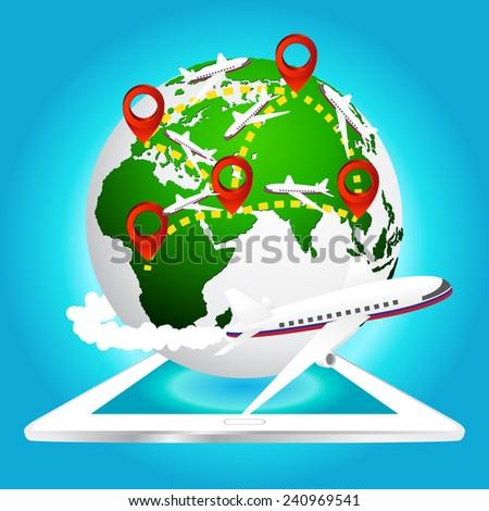 airplane travels around the