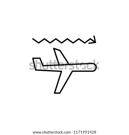 airplane turbulence icon. Element of arrow and object icon for mobile concept and web apps. Thin line airplane turbulence icon can be used for web and mobile on white background