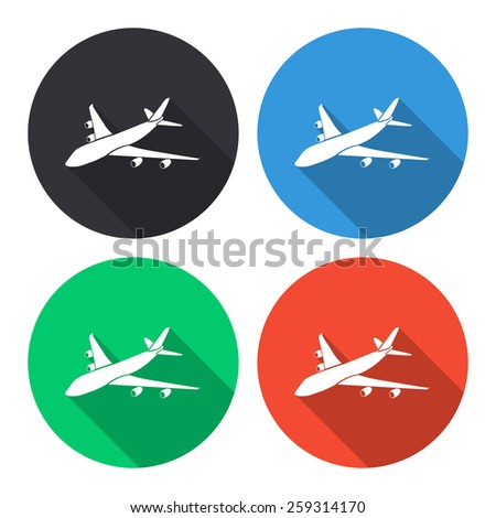 airplane vector icon   colored