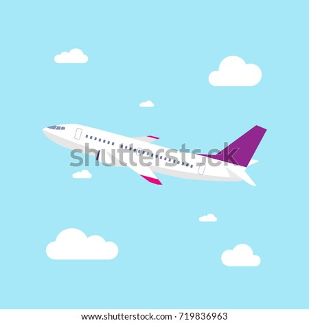Airplane Vector Illustration, Airplane take off with blue sky background, Flat design style.