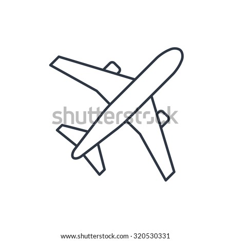 Airplane vector outline icon