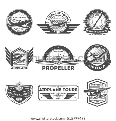 airplane vintage isolated label ...