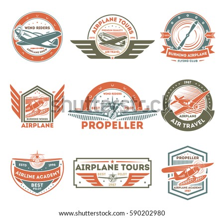 airplane vintage isolated label