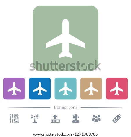 airplane white flat icons on