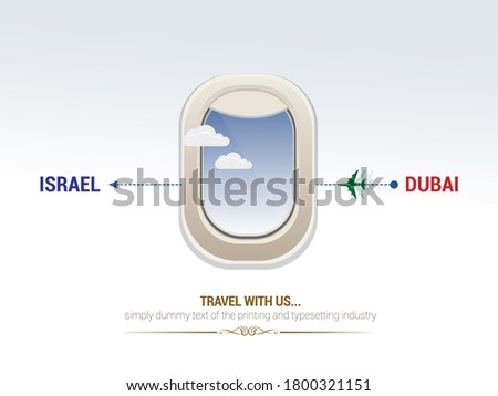 Airplane window travel from Dubai to Israel. stock photo