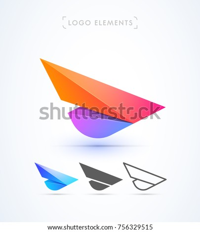 Airplane wing logo template. Vector abstract material design, flat, line-art style