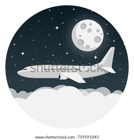 airplane with night sky  clouds