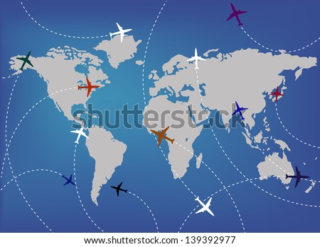 airplanes and map
