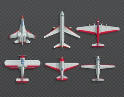 Airplanes and military aircraft top view. 3d airliner and fighter vector icons. Airplane top view, air transport model illustration