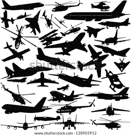 airplanes military airplanes helicopte r collection vector