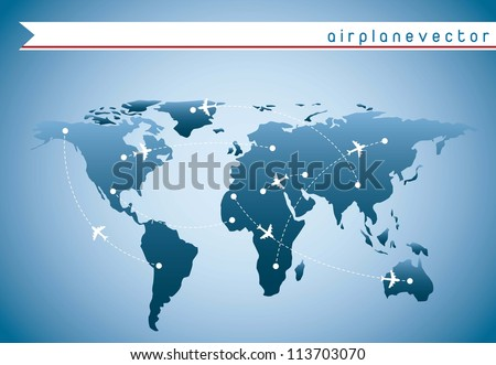 airplanes over blue map with routes over blue background. vector