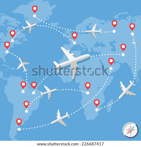 Airplanes over blue map with routes over blue background. Vector Illustration. Flat Design.