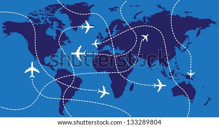 Airplanes over the world map - illustration