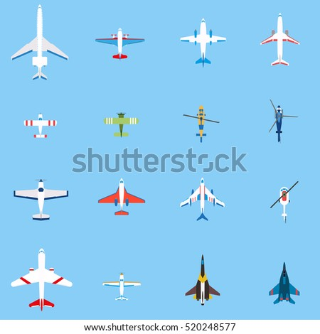 airplanes set  top view in flat