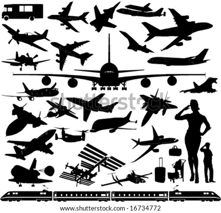 Airplanes, Space Rocket Stations, Train, Car.... in Vector Sihouettes