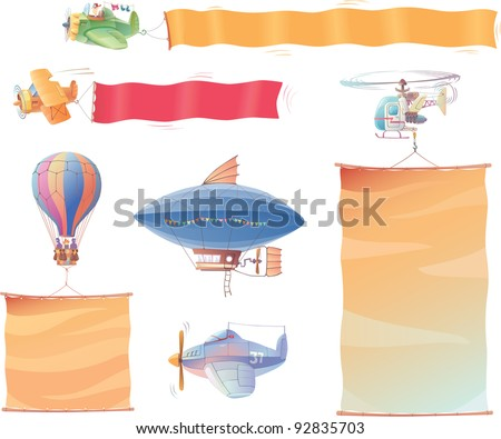 Airplanes, the dirigible, the hot air balloon and the helicopter are flying in the air with the banners.