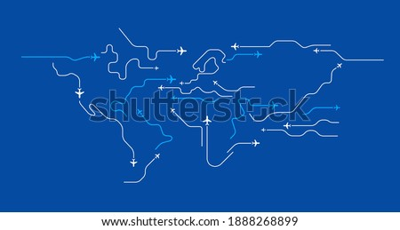 Airplanes travel abstract background - flying airplanes routes in the shape of the world map - Aviation and air travel concept - line art vector blue