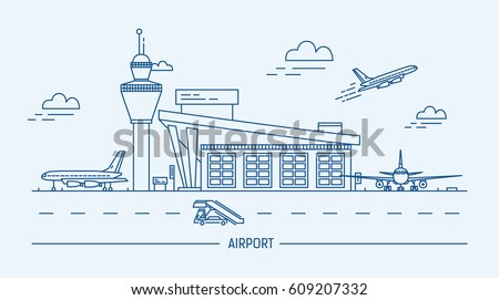 airport  aircraft lineart