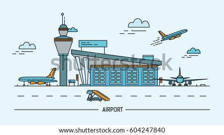 Airport, aircraft. Lineart colorful vector illustration with air terminal and airplanes.