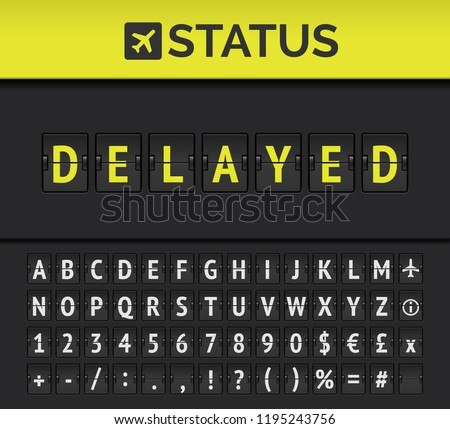 Airport analog flip board showing flight information of departure or arrival status: Delayed with aircraft sign icon and alphabet. Vector Сток-фото ©
