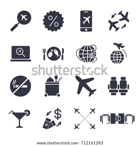 Airport and Airplane Elements icons set. Delivery icons universal set for web and mobile: plane, search, seat belt, airway and other. EPS 10. Editable Stroke.