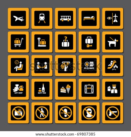Airport and tourism pictogram set  in orange and white on black