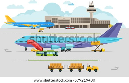 Airport Arrivals at Airport and Departures, Travel Concept, Flat Design, Vector Illustration
