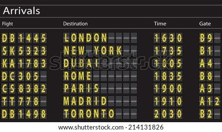 Airport Arrivals Board. Vector