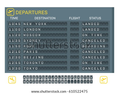 Airport board concept with time destination status of flights and letters numbers signs vector illustration
