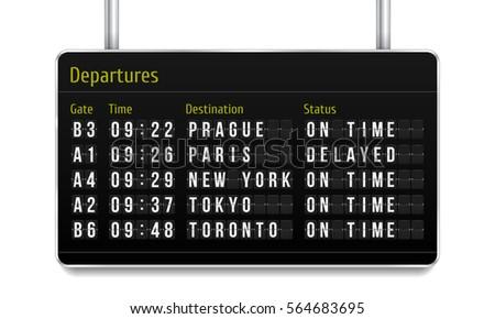 Airport board. Mechanical scoreboard. Realistic scoreboard with flip symbols. Vector template for your design.