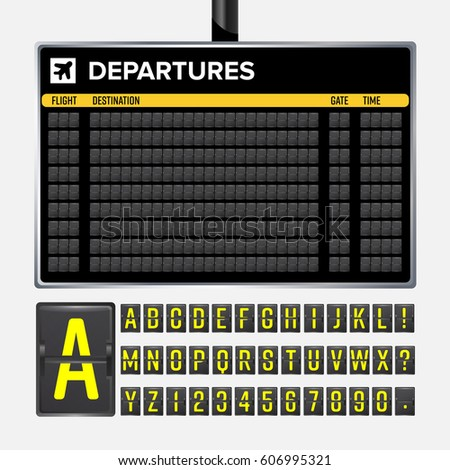 Airport Board Vector. Realistic flip scoreboard template. Black 3d board with alphabet and numbers. Analog airport board font on dark background. Destination board eps