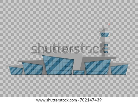 Airport building is isolated in the Flat style on transparent background vector illustration. Modern airport, flying vehicles, travel to other countries tourism symbol for your projects.