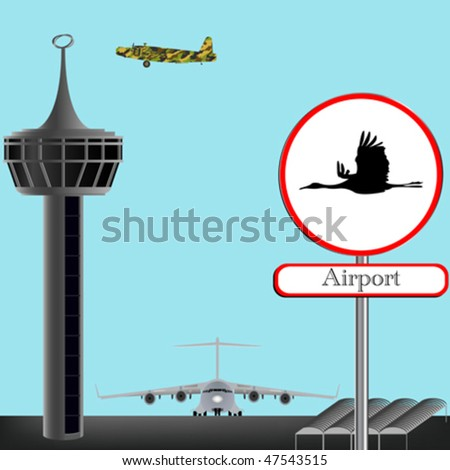 airport concept composition, abstract vector art illustration