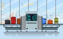 Airport conveyor belt with passenger luggage and police scanner. Terminal checkpoint vector concept. Airport baggage conveyor in terminal. vector illustration in flat design.