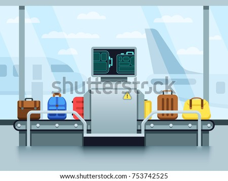 Airport conveyor belt with passenger luggage and police scanner. Terminal checkpoint vector concept. Airport baggage conveyor in terminal illustration