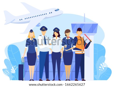 Airport crew standing together, professional airline team in uniform, vector illustration. Airplane pilot and flight attendant cartoon characters, captain and stewardess, airport service people Сток-фото ©