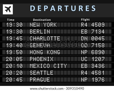 Airport departure board with following destinations: New York, Berlin, Charlotte, Geneva, Hong Kong, Phoenix, Mexico City, Seattle and Prague.