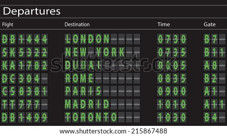 Airport Departures Board. Vector