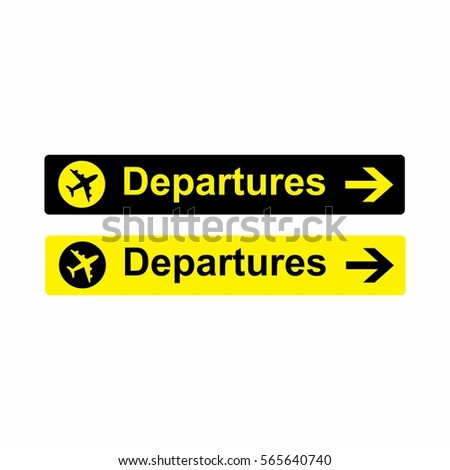 Airport Departures sign vector design isolated on white background