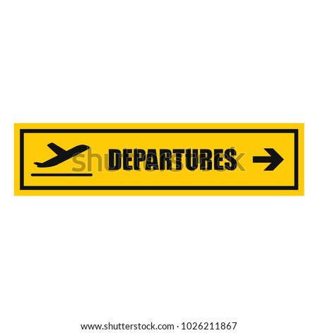 airport departures sign, vector icon