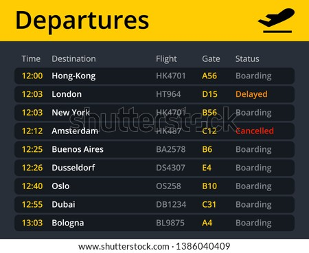Airport electronic board schedule departures, showing flights, time, destination, gate and status in real time. Vector quality illustration.