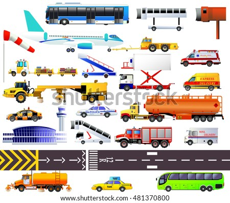 airport equipment set vector