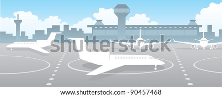 Airport field with planes - stock vector