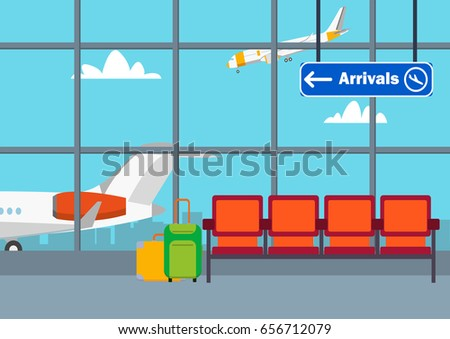Airport flat vector illustration background