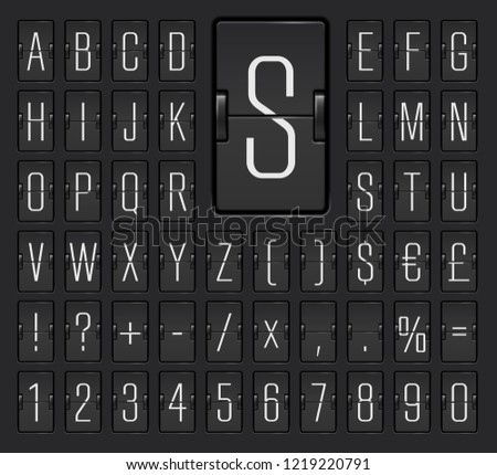 Airport flip board mechanical light alphabet with numbers for flight departure or arrival information showing. Black terminal scoreboard font  to display destination and timetable vector illustration.