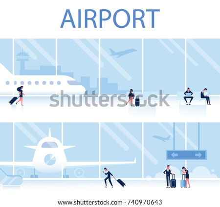 Airport Horizontal Banner. Waiting Room with people.Travel Concept, infographics elements. Flat Vector Illustration.
