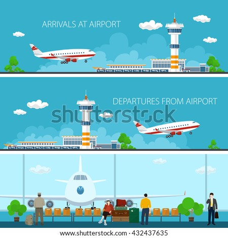Airport Horizontal Banners, Arrivals at Airport and Departures, a Waiting Room with People, Travel Concept, Flat Design,  Vector Illustration