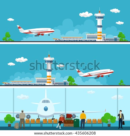 Airport Horizontal Banners, Arrivals at and Departures from Airport, People with Luggage in the Waiting Room, Travel Concept, Flat Design,  Vector Illustration