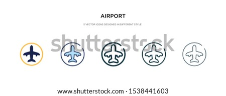 airport icon in different style vector illustration. two colored and black airport vector icons designed in filled, outline, line and stroke style can be used for web, mobile, ui