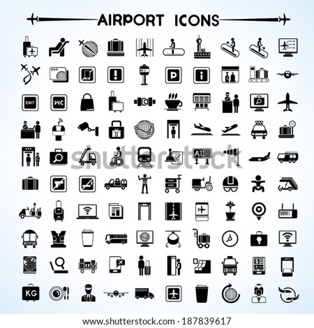 airport icon set, airport management icons, aerial transportation icons